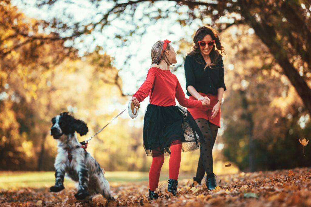 Cheerful Walking With Loving Dog