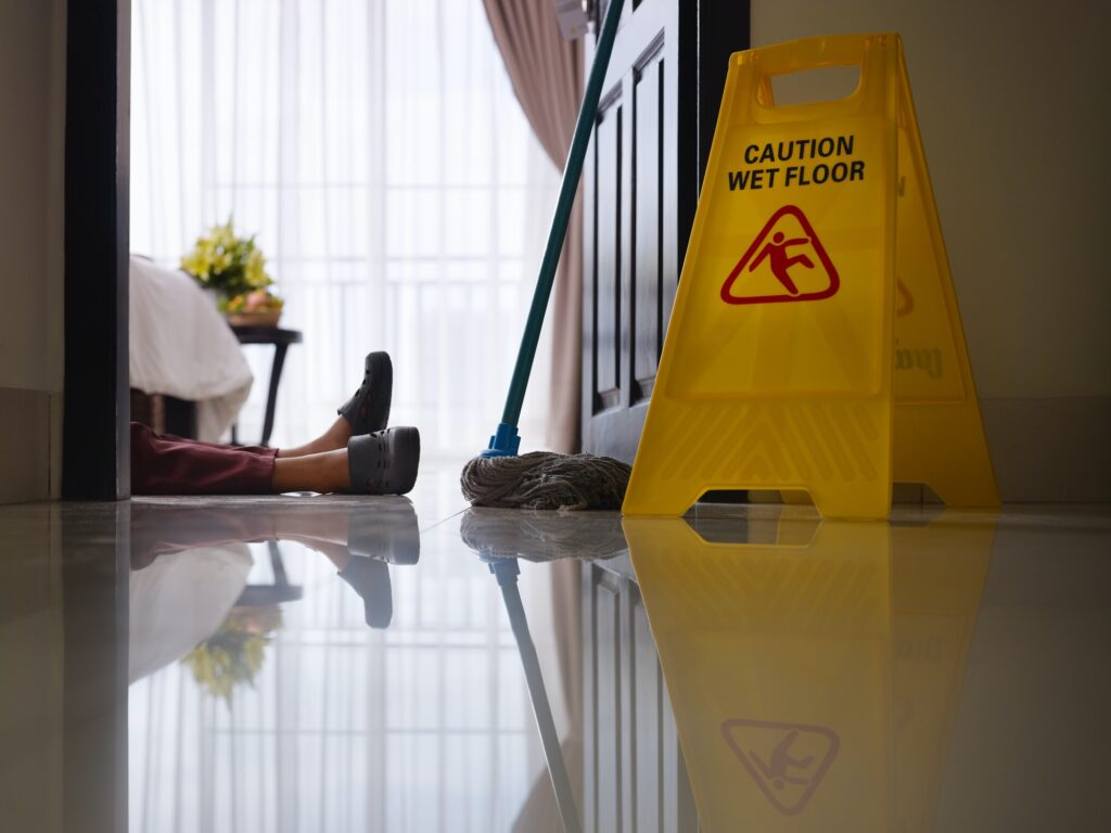 Maid Slipped On Wet Floor And Laying Down